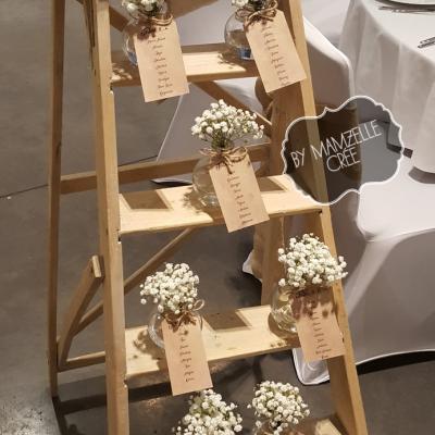Plan de table escabeau champêtre mamzelle crée