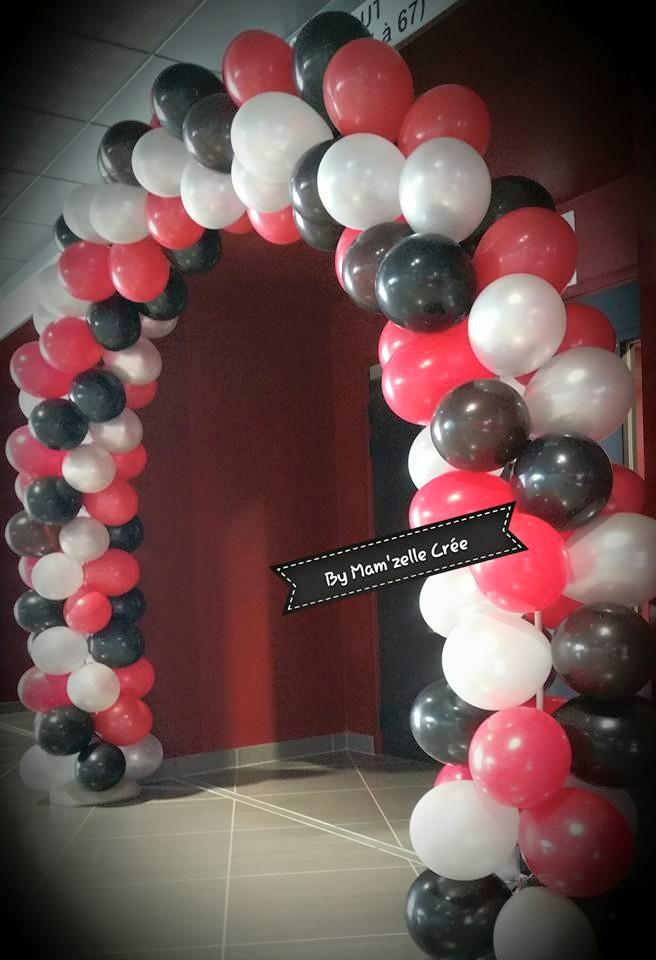 Arche de ballons rouge et noir Mam'zelle crée