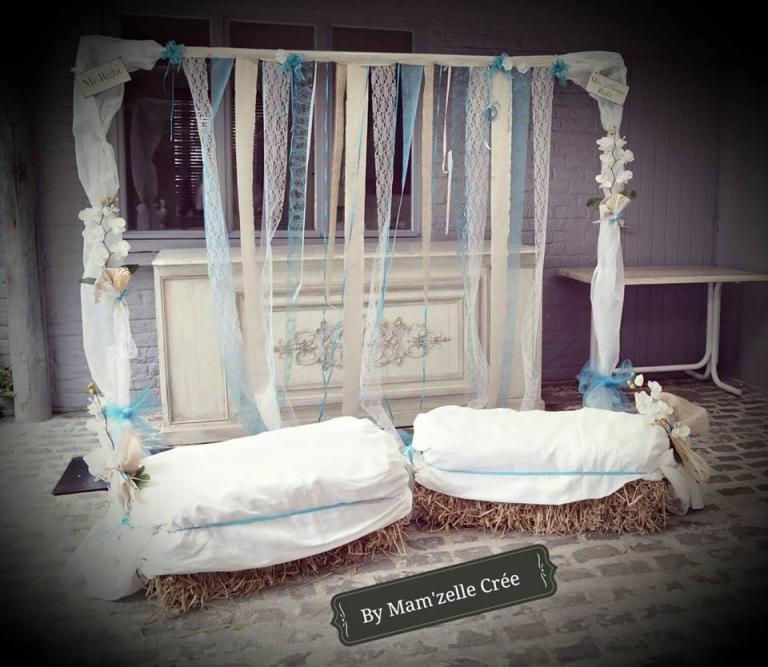 Arche Laïque ruban lin dentelle bleu Mam'zelle crée